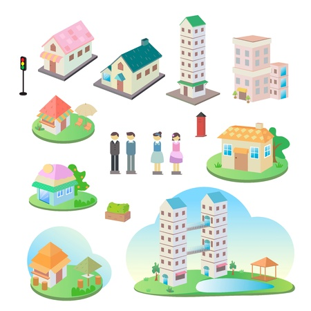 Icon of a small town  Vector