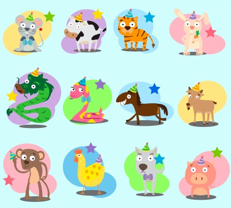 pig tails: Twelve animals in chinese zodiac