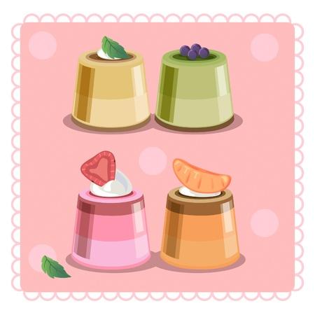 custard: Four piecs of custard cream, four flavors. Illustration