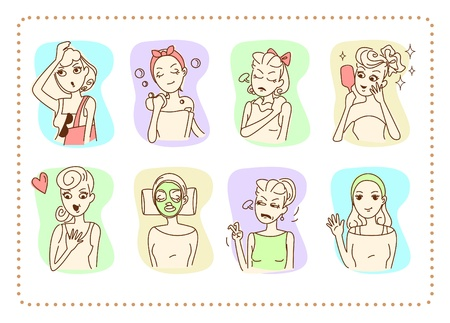 Women with daily activities, various emotions and gestures