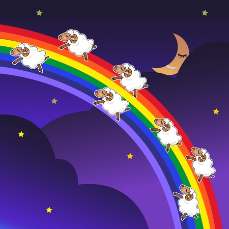 Seven sheep jumping on a rainbow in the night with a happy face