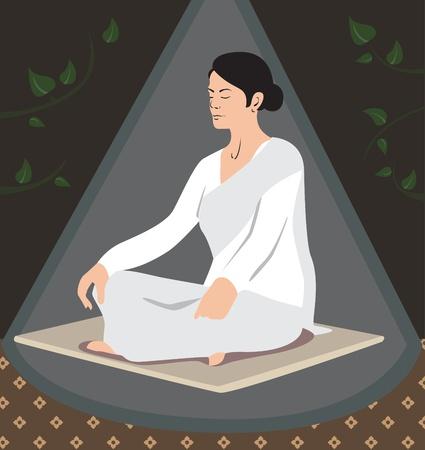 Lady made meditation at night  Stock Vector - 19259495