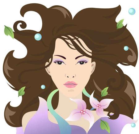 sleek: Beautiful women spread her hair look shiny and sleek
