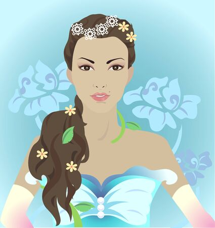 adorned: Beautiful woman with long hair adorned flowers
