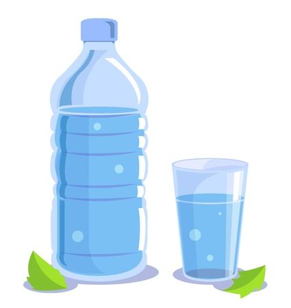 Drinking water in plastic bottles, a glass of water.