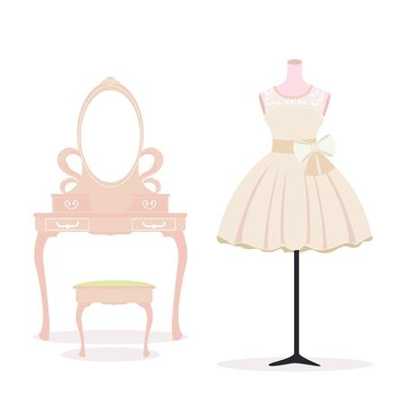 短いウェディング ドレスとドレッシング テーブル