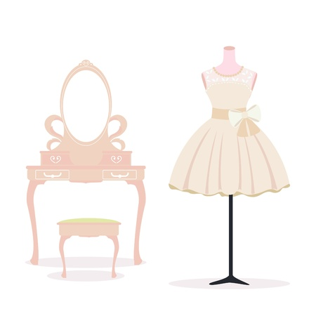dressing table: Short wedding dress and dressing table  Illustration