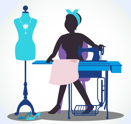 Women are sewing and mannequin beside her