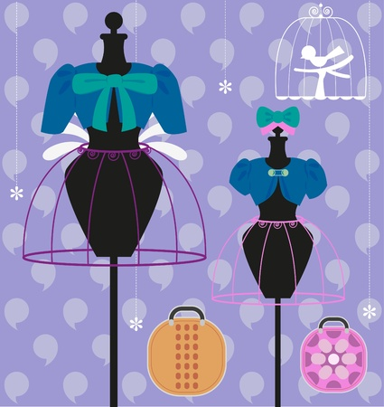 Mother and child clothes on mannequin with bag and bird cage  Vector