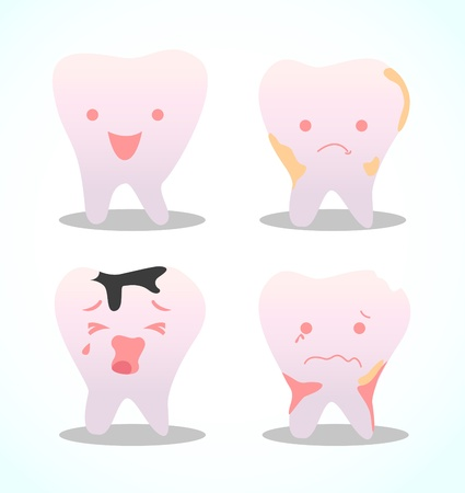 Different teeth, healthy teeth, tooth decay, tooth pain