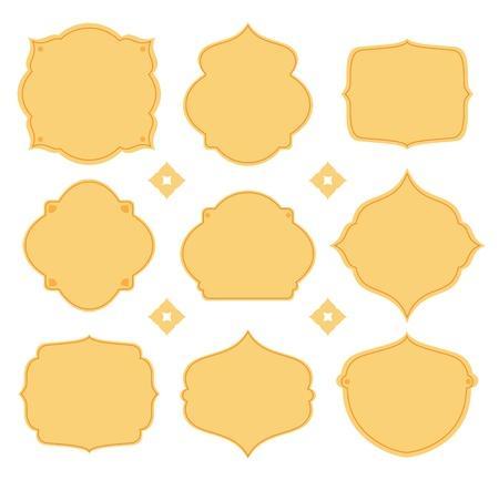 puntig: Negen stukken van verschillende vormen, gele spitse vorm Stock Illustratie