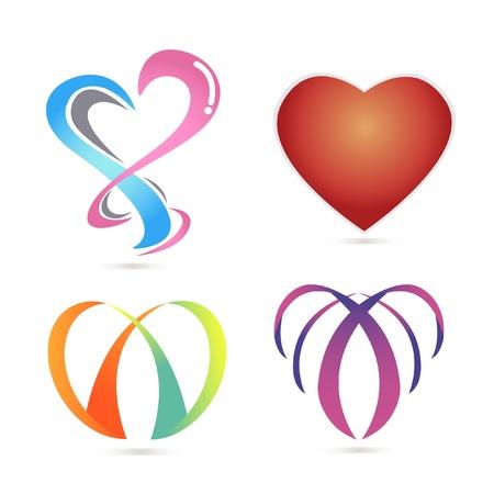 ロゴ、ハート、愛についての 4 つのシェイプ。