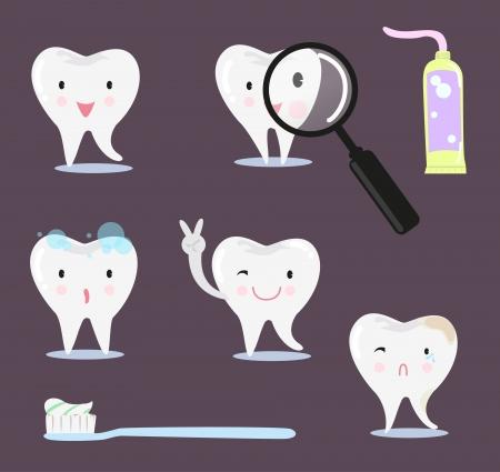 diente caricatura: La historieta del diente. Posturas, pasta de dientes, cepillo, lupa.