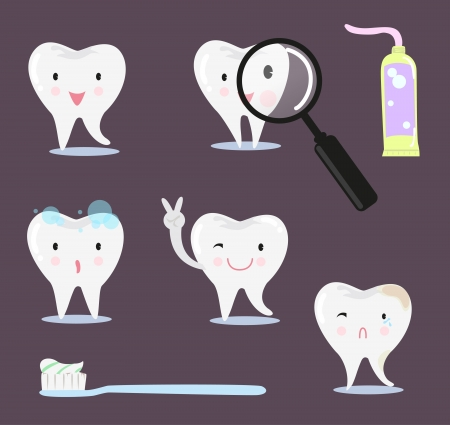 Tooth cartoon. Postures, toothpaste, brush, magnifying glass. Vector