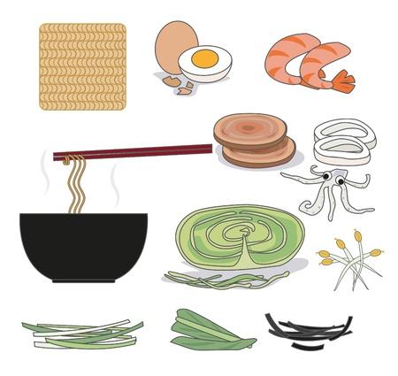 インスタント ラーメンと海藻、エビ、野菜、卵などの成分  イラスト・ベクター素材