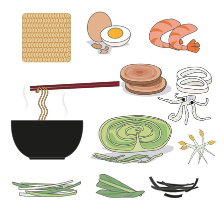 Instant noodles and ingredients such as seaweed, shrimp, vegetables, eggs