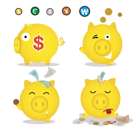 Colorful piggy bank, drops, picking, collecting money and coins  Illusztráció