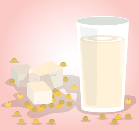 Soybeans, tofu, and soy milk in glass, soy-based products for health  矢量图像