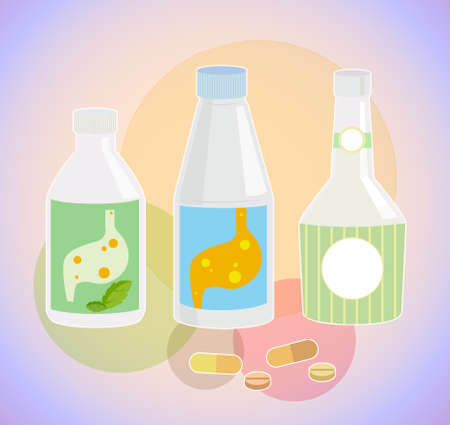 stomach acid: Drugs reduce stomach acid bottles, pill and capsule
