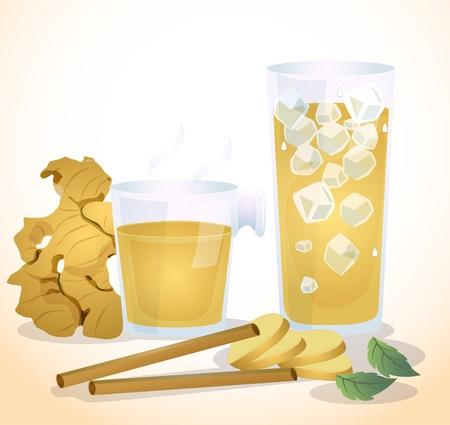 生姜、熱く、冷たい飲み物、栄養、ペパーミントとシナモンの成分