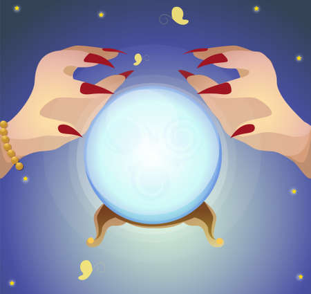 fortune teller: Fortune teller and crystal ball to predict the future