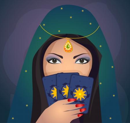 Gypsy voorspellen van de toekomst Stock Illustratie