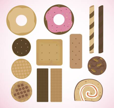 Various types of bakery   Vector
