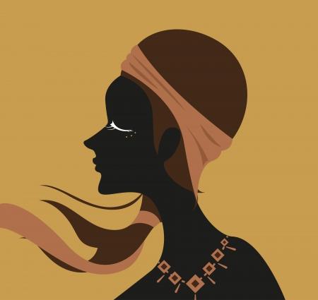 Woman has long hair and fabric headband  Stock Vector - 21216332