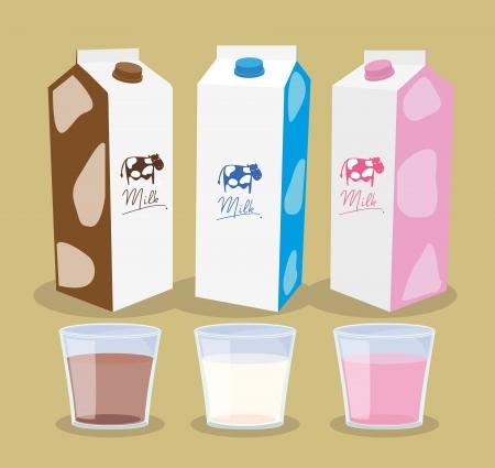 ミルク ボックスで、ミルクの味  イラスト・ベクター素材