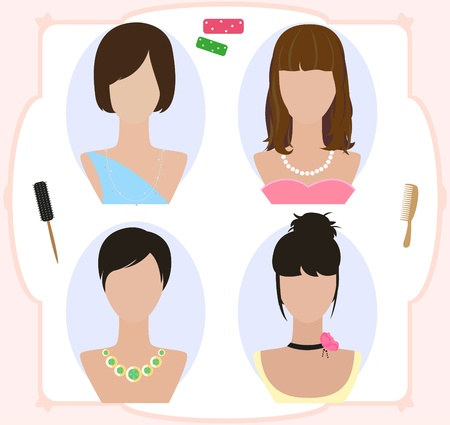 wig: Mannequins and wig for woman. Illustration