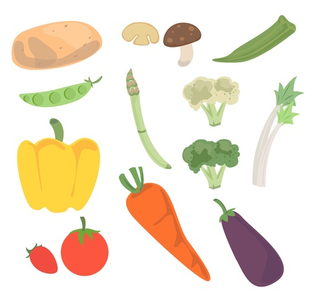 Fresh vegetables for cooking and good for health. Illustration