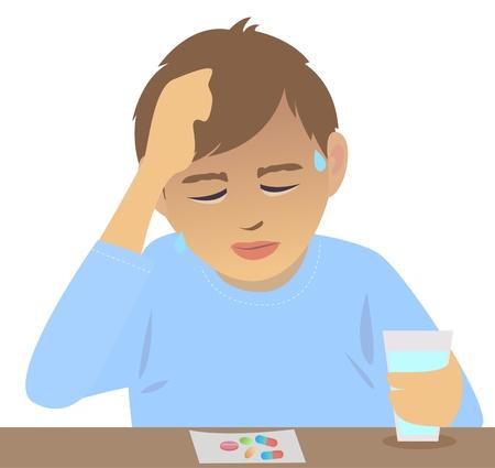患者は発熱を減らすために薬を取っています。  イラスト・ベクター素材