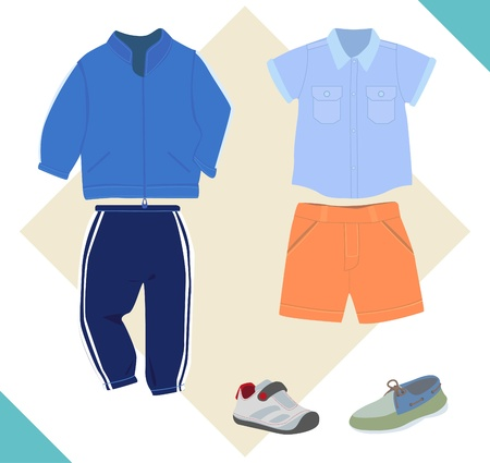 sportswear: Sportswear and shirt, shorts for children. Sneakers and shoes.