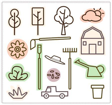 Icon gardening equipment, truck, tree, hat, seeds, barn. Vector