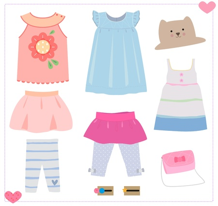 hairpin: Girls clothes with legging , dress, skirt, and hairpin.