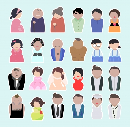 father of the bride: People of different ages. People in the working age and older people and the children. Illustration