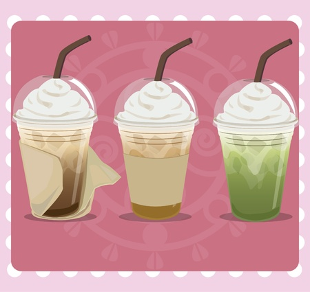 Coffee in plastic cup wrapped with tissue paper. Flavored mocha, cappuccino and green tea. Vector