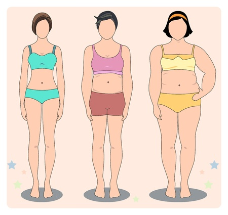 portly: Body of woman, skinny, overweight, and obesity in lingerie.