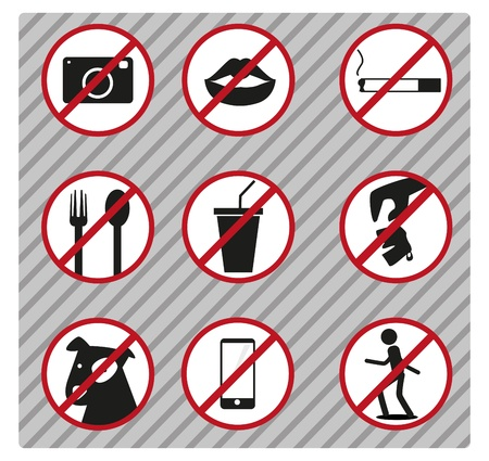 littering: Symbol and signs, such as voice or not pets etc.