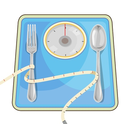 Weight scale to weigh and measure. Diet to lose weight.