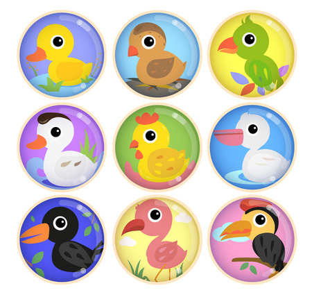 art: Cute poultry species in nine circles such as bird, hen, duck and more.