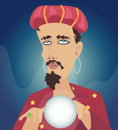 Men with Crystal Ball Seer fortune. Wizard fortune. Illustration