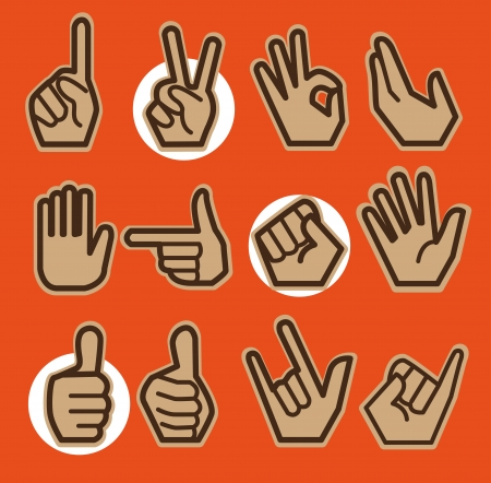 Twelve hands in different gestures, posture with orange background.