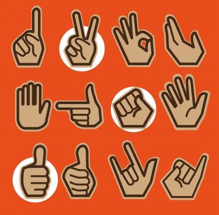 pinky: Twelve hands in different gestures, posture with orange background.