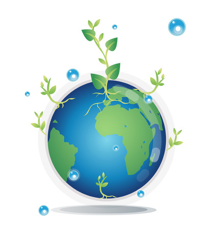moisture: Globe with trees, care for the Earth by planting trees, adding moisture. Reduce global warming. Illustration
