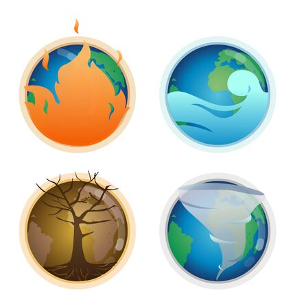 Four of symbol disasters on earth such as global warming, floods, and other.