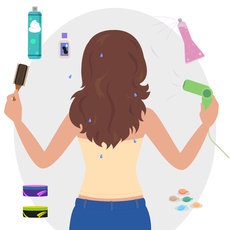 strapless: Woman standing with his back to blow dry hair with a spray bottle and hair mousse.