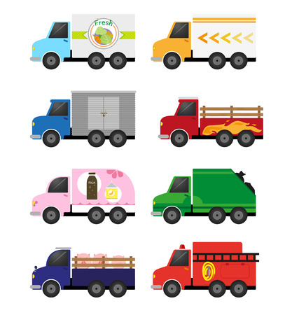 Many trucks have a fresh car and truck shipments and fire truck and more. Vector