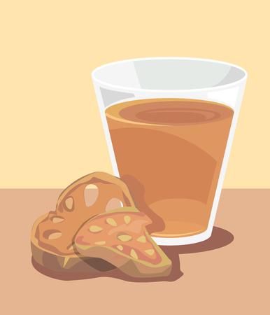 bála: Egy pohár bála juice és egy darab szárított birs Illusztráció