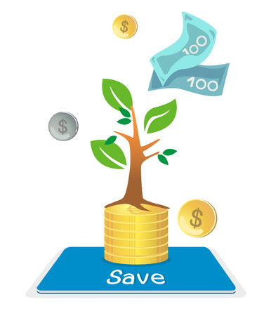 growing up: Book and deposit the money. Investment returns increased. Illustration